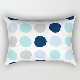 Minimal painted dot polkaed ot pattern blue navy indigo gender neutral nursery Rectangular Pillow