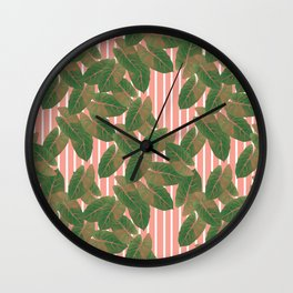 Falling leaves with pastel stripes Wall Clock
