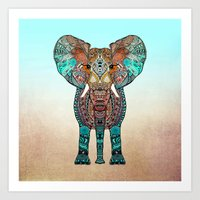 orange Art Prints featuring ElePHANT by Monika Strigel
