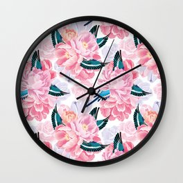 parrots and flowers Wall Clock