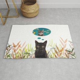Black cat dreaming of Fishing Cat Rug