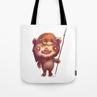 ewok Tote Bags featuring Wicket the ewok by Nathalie Vessillier