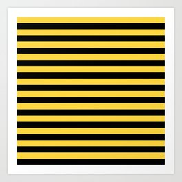 Even Horizontal Stripes, Yellow and Black, M Art Print