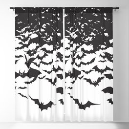 Halloween Bat Black and White Pattern Blackout Curtain
