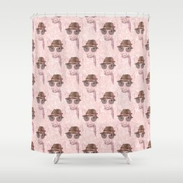 Cute pink baby pig funny design Shower Curtain