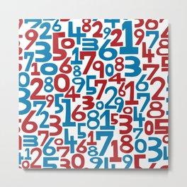 Red & blue numbers. Seamless pattern. Metal Print