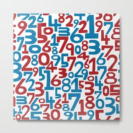 Red & blue numbers. Seamless pattern. Metal Print