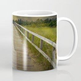 Boardwalk on the Beach with Radiant Sunbeams Coffee Mug