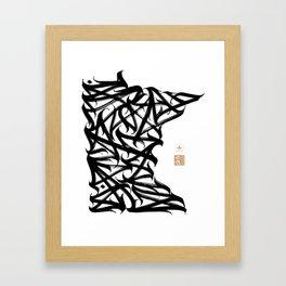 Minnesota Calligram Framed Art Print