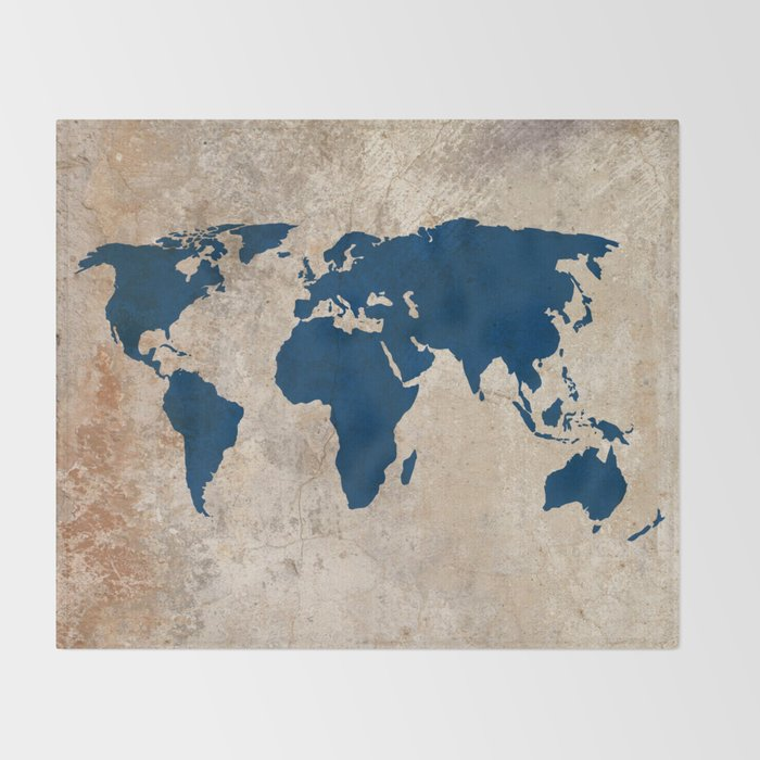 Rustic World Map Throw Blanket By Bysamantha Society6