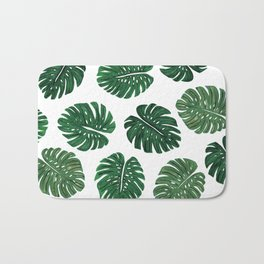 Tropical Hand Painted Swiss Cheese Plant Leaves Bath Mat
