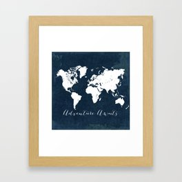 Navy Adventure Awaits Map Framed Art Print