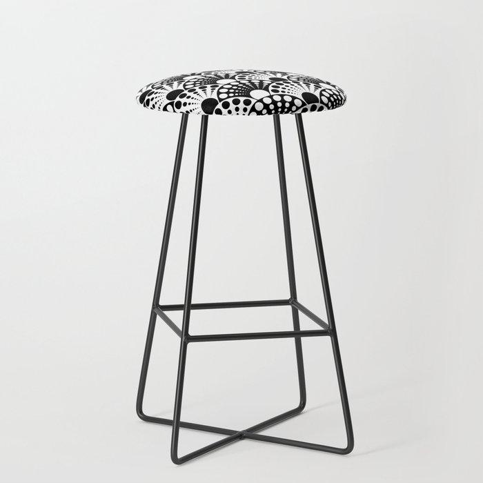 black and white art deco inspired fan pattern Bar Stool