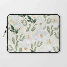 Magnolia and Orchid Blossoms Watercolor Laptop Sleeve