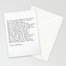 Empty Spaces Poem Ernest Hemingway Quote Stationery Cards