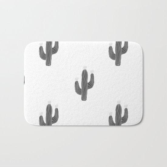 Cactus bloom - bw Bath Mat