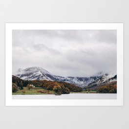 Crummock Water, with snow covered fells. Cumbria, UK. Art Print