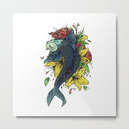 fish watercolor Metal Print