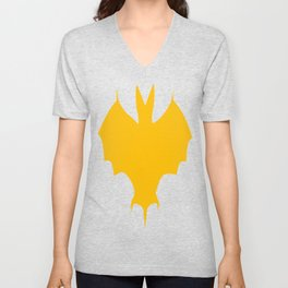 Orange-Yellow Silhouette Of a Bat  Unisex V-Neck