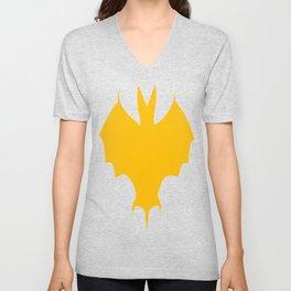 Orange-Yellow Silhouette Of a Bat  Unisex V-Neck