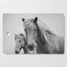 Horses - Black & White Cutting Board
