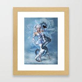 Manga Blue Dragon Framed Art Print