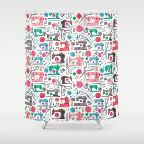 Sewing Pattern Shower Curtain By Elenaoneill Society6