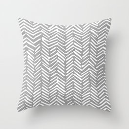 Abstract Herringbone Pattern, Rustic, Gray and White Throw Pillow