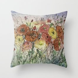 Red and Yellow Poppies by Olena Art Throw Pillow