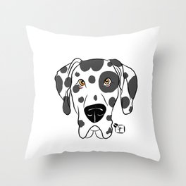 Harlequin Great Dane Face Throw Pillow
