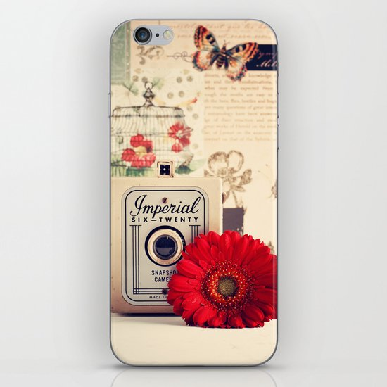 Retro Camera and Red Flower (Retro and Vintage Still Life Photography) iPhone Skin