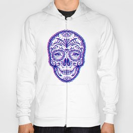 Sugar Skull (Calavera) Chromatic Aberration - Cyan Magenta Hoody