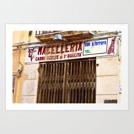 Old Sicilian Butcher Shop in Marsala Art Print