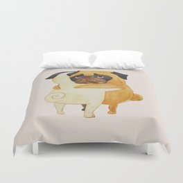 Pug Hugs Watercolor Duvet Cover