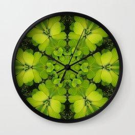 Bright Green Water Plant Wall Clock