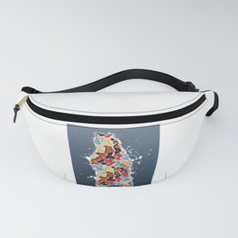 Colorful Grizzly Bear Abstract on Blue Fanny Pack