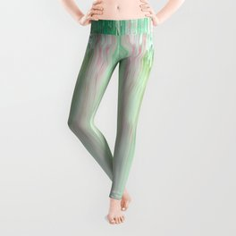 Abstract Cascade Glitch 1.Green Leggings