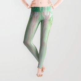 Abstract Cascade Glitch 1.Green Leggings