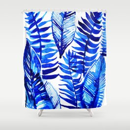 Jungle Leaves & Ferns in Blue Shower Curtain