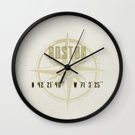 Boston - Vintage Map and Location Wall Clock