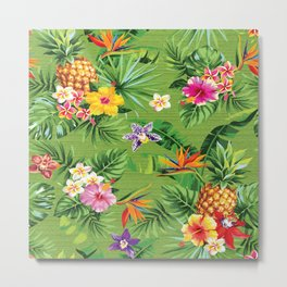 Bright Tropical Floral Metal Print