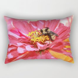 Zinna And Bee Rectangular Pillow