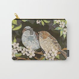 Sparrows in the Plum Tree Carry-All Pouch
