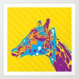 Giraffe in Color Art Print