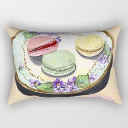 Macarons on an Antique Plate in Gouache Rectangular Pillow