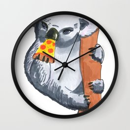 koala eating pizza Wall Clock