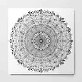 Mandala Project 626   Black and White Lace Mandala Metal Print