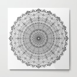 Mandala Project 626 | Black and White Lace Mandala Metal Print
