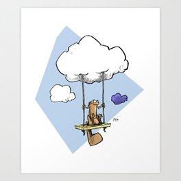 Squirrel swinging on a cloud Kunstdrucke