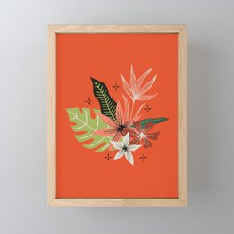 tropical bouquet on orange Framed Mini Art Print